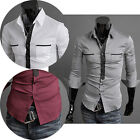 Button Down New Mens Long sleeves Dress Shirt Formal Casual Tops size S-XL PJ