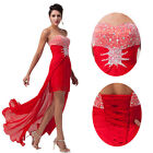 Red Long Chiffon Bridesmaid Formal Gown Ball Party Cocktail Evening Prom Dress