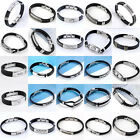 Mens Black Rubber PU Leather Stainless Steel Wristband Cuff Bangle Bracelet Punk