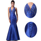 2014 New Long Satin Evening Formal Bridesmaid Wedding Ball Gown Prom Party Dress