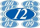 Blue and White 2-digit Oval Year Stickers (multiple item shipping discount)