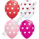 "Pk of 5 Qualatex 11"" Helium Quality Anniversary Love Heart Valentines Balloons"
