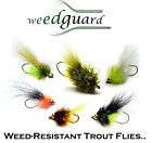NEW!! Fly Fishing *WeedGuard*- SET OF 6 - Weed Resistant Flies for Trout Fishing