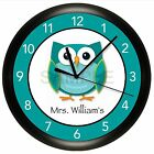 TEACHER WALL CLOCK PERSONALIZED GIFT WALL DECOR ART OWL HOOT CLASSROOM SCHOOL