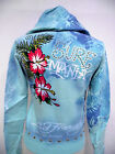 ED HARDY  CRISTIAN AUDIGIER JUNIORS PLATINUM SURF CRAZY HOODIE NWT TEAL