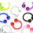 "2 PCS 16g 3/8"" Bioflex Ear Horseshoe Tragus Lip Flexible Clear White 4MM Balls C"