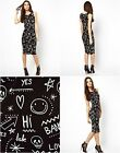 ASOS Bodycon Dress With Scribble Tattoo Print Black RRP £28 r32.