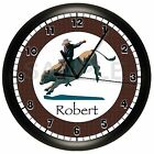 RODEO WALL CLOCK PERSONALIZED GIFT HORSE BULL COW COWBOY ROPING SADDLE
