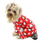 "Dog Clothes Pet Pajamas ""PENGUINS & SNOWFLAKE"" FLANNEL PJS RED XS-XL KLIPPO NEW"