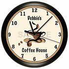 COFFEE HOUSE WALL CLOCK PERSONALIZED GIFT WALL DECOR RESTAURANT SHOP CAPPUCCINO