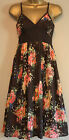 Ex Monsoon Summer Dress - new brown with abstract floral print design, size 8-18