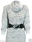 WOMENS LADIES LONG SLEEVE POLO COWL NECK BELTED CHUNKY KNITTED JUMPER TOP 8-14