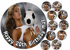 A4 EDIBLE FOOTBALL SEXY LADY 18th 21st HAPPY BIRTHDAY CUPCAKE CAKE ICING TOPPER