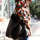 Women Ladies Designer Leather Style Celebrity Tote Bag Pleated Shoulder Handbag
