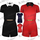 Womens Collared Gold Plated Short Sleeve All In One Shorts Ladies Piece Playsuit