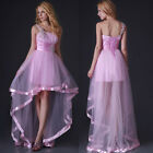 Hot Pink High-Low Evening Prom Wedding Pleated Satin Tulle Grace Karin JS Dress