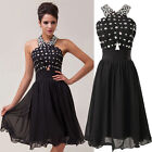 Short Mini Halter Evening Ball Gown Bridesmaid Prom Formal Chiffon Party Dress
