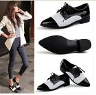 Womens Vintage Black/White Real Patent Leather Lace Up Oxford Saddles Shoes