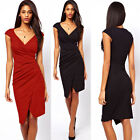 Sexy Ladies Slim V-Neck Pleated Cap Sleeve Short Dress Office Party Career Wear