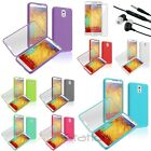 TPU Rubber Skin Flip Case+Stereo Headset+Guard For Samsung Galaxy Note 3 N9000
