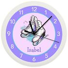 PURPLE FIGURE SKATING WALL CLOCK PERSONALIZED GIFT WALL ICE SKATE QUIET MOTOR