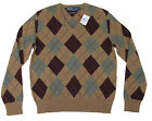 $225 Polo Ralph Lauren Mens Lambs Wool V Neck Camel Brown Slim Sweater S XL 2XL