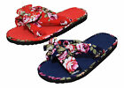 Pretty Floral Navy Blue Red Bow Flip Flops Summer Mules Beach Flower Sandals New