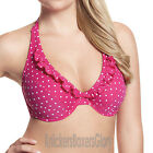 Panache Cleo Swimwear Betty Plunge Bikini Top Pink Spot CW0034 NEW Select Size
