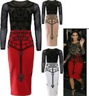 Womens Ladies Kim Kardashian Inspired Long Sleeve Mesh Insert Bodycon Midi Dress