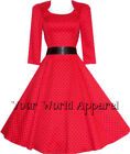 H&R LONDON RED POLKA DOT SWING 50's HOUSEWIFE DRESS VINTAGE ROCKABILLY RETRO