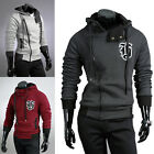New Men Three Colors Long Sleeve Zipper Design Thick Outwear Hooded Jackets Coat