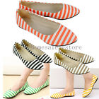Women Casual Stripe Dolly Pointed Toe Flats Ballerina Ballet Shoes Pumps Loafers