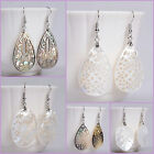 925 silver Shell oval teardrop leaf dangle earrings