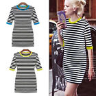 Sexy Womens Striped Half Sleeve Bodycon Mini Dress Contrast Collar Pencil Dress