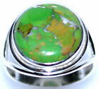 Green COPPER Turquoise Rings, 925 Sterling SILVER Ring All Size L, 50.5 to Y, 12