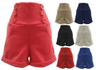 C18-LADIES 6 BUTTON TURN UP HEM HIGH WAISTED SHORTS WITH POCKETS-UK SIZE 8-12
