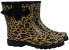 Leopard Design Short Gumboots Wellies Ladies Womens Rain boots Size 6 7 8 9 *New