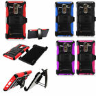 For LG K8V Hybrid Combo Holster KICKSTAND Rubber Case Phone Cover Accessory