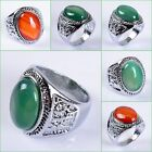 Green and Red agate ring US size:11 1/4