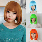 New Colorful Cosplay Bob Short Hair Women Full Straight Wigs Weave Resistance