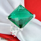 Wedding New Jewelry Facet Princess Green Emerald 925 Sterling Silver Ring VR70