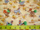 FUNNY FARM - CRAZY CHICKENS & CHICKS ON THE FARM PATCHWORK COTTON FABRIC