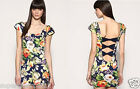 Motel At Topshop Bowtastic Designer Bodycon Dress Floral Rose Garden Asos New