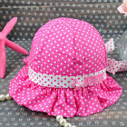 Cute Todders Girls Boys Polka Dot Wave Edge Outdoor Summer Hat Sun Cap 44-48CM