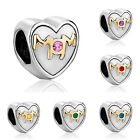 Pugster Mom Birthstone Crystal Charm Silver Gold P European Bead Charms Braceles