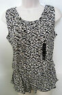 BANANA REPUBLIC Women's Black Patterned Peplum Waist Sleeveless Top S,M NWT