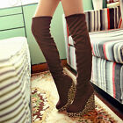 Women Wedge Heel Leopard Knee High Boots Sexy Suede Knight Platform Chic Shoes