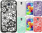 For Samsung Galaxy S5 TPU FLOWER GUMMY Hard Case Phone Cover + Screen Protector