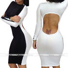 Sexy Lady Club Wear Cut Out Back Long Sleeve Bodycon Bandage Evening Party Dress