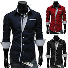 Trendy Fashion Men's Slim Fit Long Sleeve Shirts Casual Formal Tops Shirt 3Color